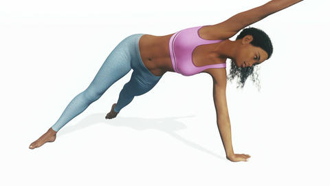 African woman in balance yoga pose on white background Animation