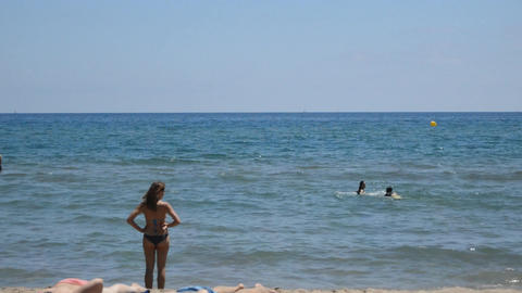 Woman Staring At The Horizon At The Beach Footage