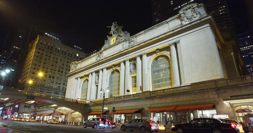 Grand Central Station in New York, night timelapse with light streaks in 4K Footage