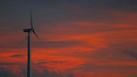 Wind Farm Lone Propeller Sunset close up beautiful colors Footage