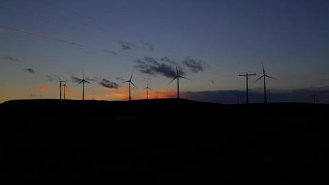Wind Farm Silouette wide after sunset Footage
