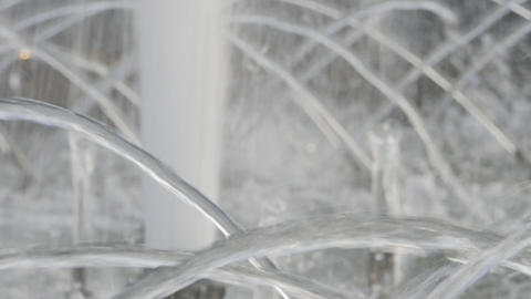 4K Ungraded: Water Jets Pour From Pipes of City Fountain Footage