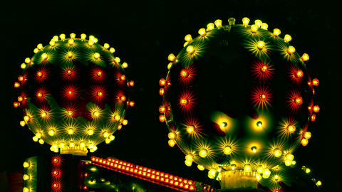 1080p Attraction in Amusement Park With Abstract Cosmic Balls Flashes With Footage