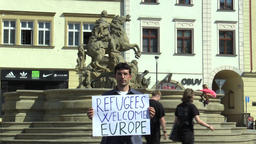 Demonstration for the support of refugees, banner refugees welcome europe, czech Footage