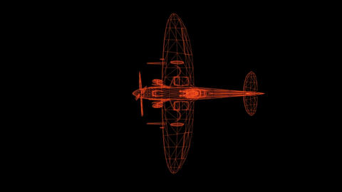 Airplane wire frame model isolated on black - 3D Rendering Animation