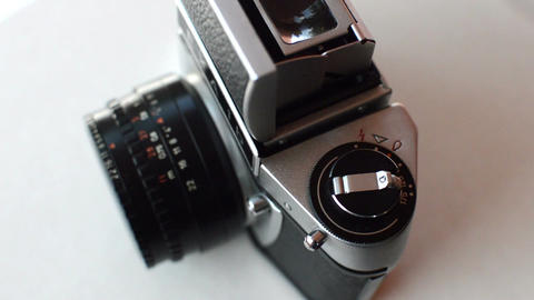 close up of vintage photo camera rotate Footage