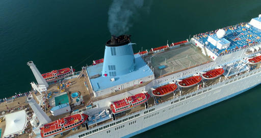 Cruise ship from the top. Aerial Footage