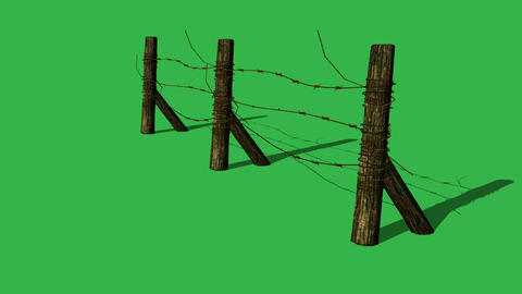 animation - Barbed wire fence on green screen Animation