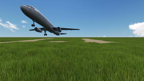 cinemagraph - animation of green field with airplane in background Animation