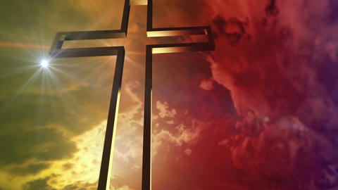 golden cross with optical flare Animation