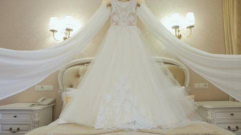 Beautiful white dress of the bride. Morning bride 画像