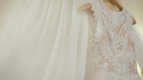 Beautiful white dress of the bride. Morning bride Footage