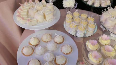 Candy Bar Wedding, candy buffet, delicious Candy bar at a wedding Footage