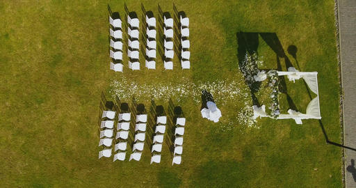 Aerial View of wedding ceremony Filmmaterial