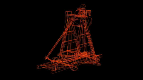 wire frame model of antique big old wooden catapult with…, Stock Animation