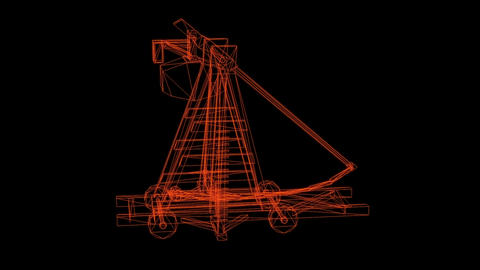 wire frame model of antique big old wooden catapult with the big stones Animation