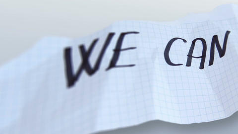 "word"" we can "" on torned paper on gradient background Animation"