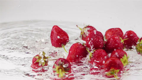 Ripe Strawberries Falls on the Table Footage
