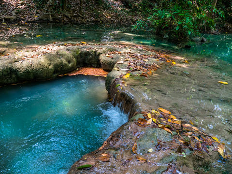 beautiful Erawan waterfall in Kanchanaburi Photo