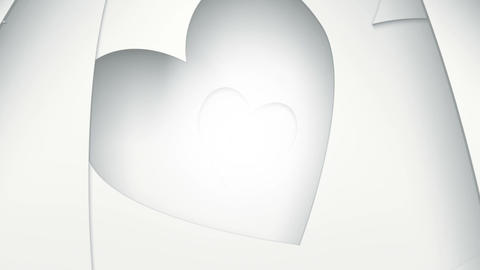 White tunnel of heart shapes seamless loop Animation