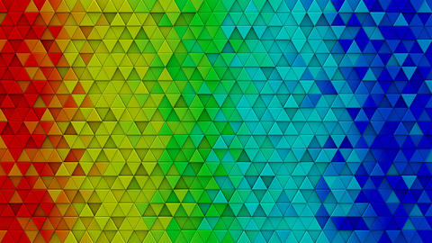 Rainbow colorful extruded triangles 3D render loopable Animation