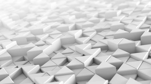 White extruded triangles abstract 3D render loopable Animation