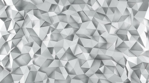 White triangle polygons surface waving loopable 3D render Animation