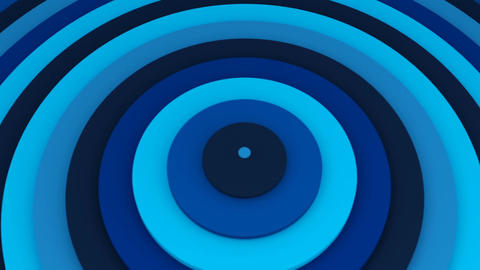 Blue concentric circles 3D animation seamless loop CG動画素材