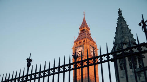 Big Ben Clock Tower Tracking Shot Footage