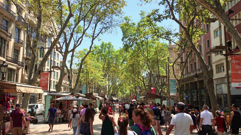 Crowd Of People In Central Barcelona City On La Rambla Street Footage