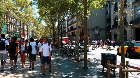 Crowd Of People In Central Barcelona City On La Rambla Street