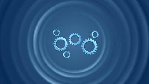 Blue gears mechanism and smooth circles video animation