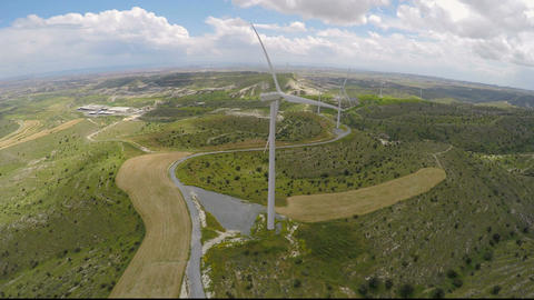Eco-friendly wind farms generating pure energy without damaging the environment Footage
