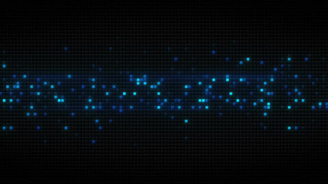 Blue glowing cubes on black tile abstract loopable background Animation