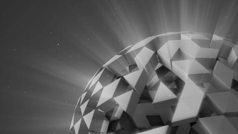 Grey polygonal sci-fi ball rotating seamless loop 3D render Animation
