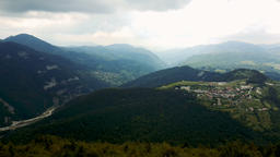 Panorama of the village of Vrata, surrounded by pine forest in the Rhodope Mount Footage