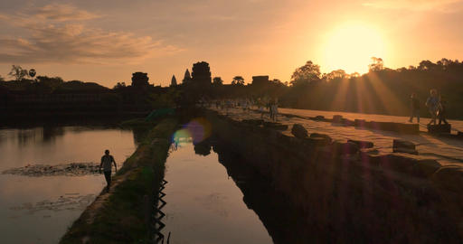 Sunrise Angkor Wat Cambodia ancient stone ruin temple Footage