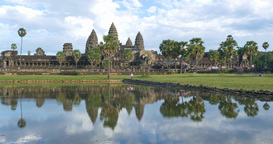 Tourist travel landmark of Angkor Wat Cambodia ancient civilization temple GIF