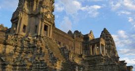 Tourist travel landmark of Angkor Wat Cambodia ancient civilization temple Footage