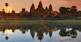 Sunset Angkor Wat Cambodia ancient hindu civilization temple Footage