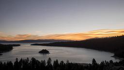 4K Timelapse of sun rise with Fannette Island, Lake Tahoe Footage