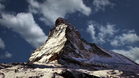 Matterhorn Rocky Mountain Top with Clouds in Timelapse Footage