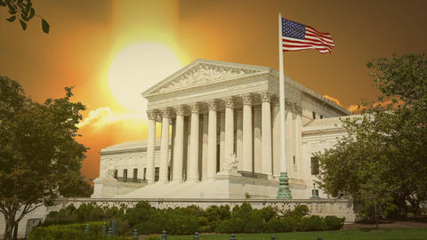 Supreme Court Building Washington DC with Sunset Clouds Time Lapse Live Action