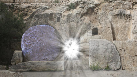 The Tomb Of Jesus Opening Rolling Stone Easter Morning With Spirit Light stock footage