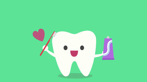 The concept of taking care of the teeth, cute cartoon tooth brushing itself Animation