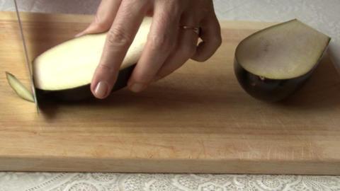 Knife, Eggplant, Hand stock footage