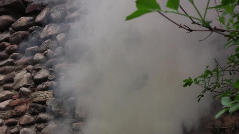Old wall of stone near green leaves. It sees a slightly smoky white, which rises Footage