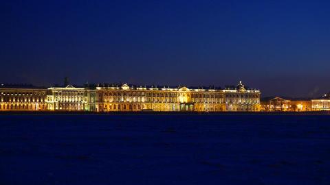 Winter Palace night view from Neva river side, winter season Footage