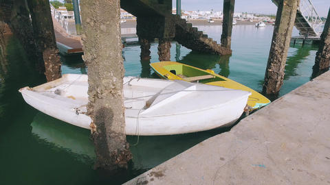 Small Boats Moored on Pier Footage