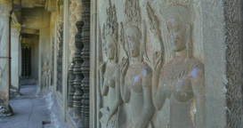 Bas Relief Stone Carving Angkor Wat Cambodia Ancient Khmer Civilization stock footage
